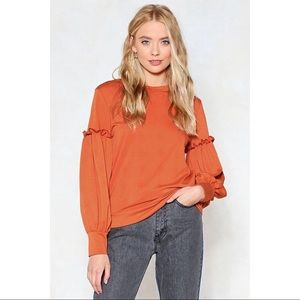 Nasty Gal Sleeve It Be Ruffle Top